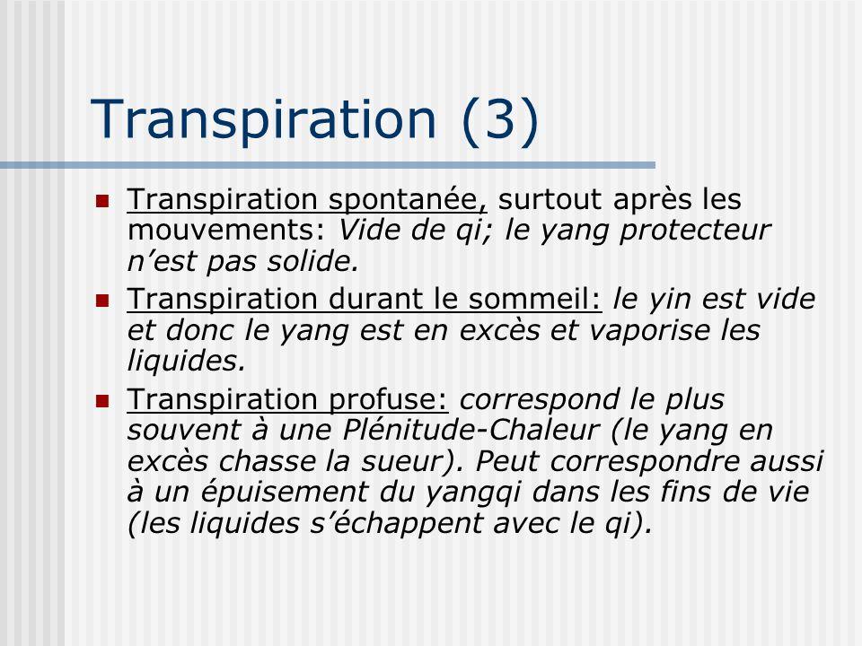 Transpiration (3) Transpiration spontanée, surtout après les mouvements: Vide de qi; le yang protecteur n'est pas solide.