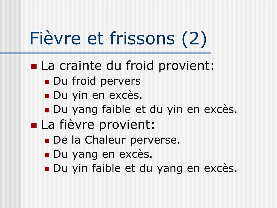 Fièvre et frissons (2) La crainte du froid provient: