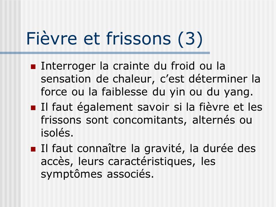 Fièvre et frissons (3) Interroger la crainte du froid ou la sensation de chaleur, c'est déterminer la force ou la faiblesse du yin ou du yang.