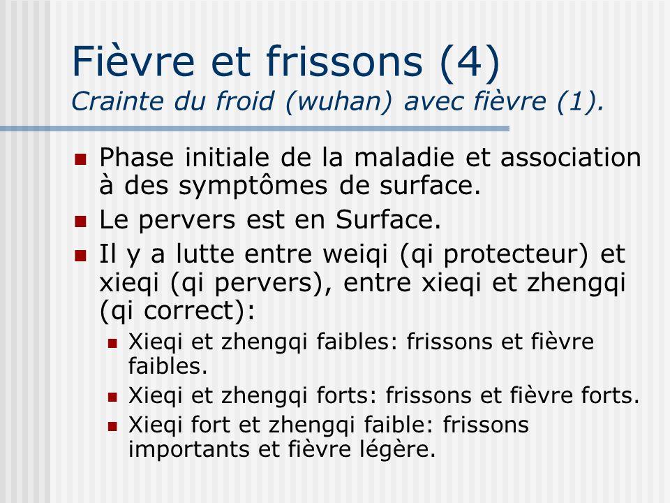 Fièvre et frissons (4) Crainte du froid (wuhan) avec fièvre (1).