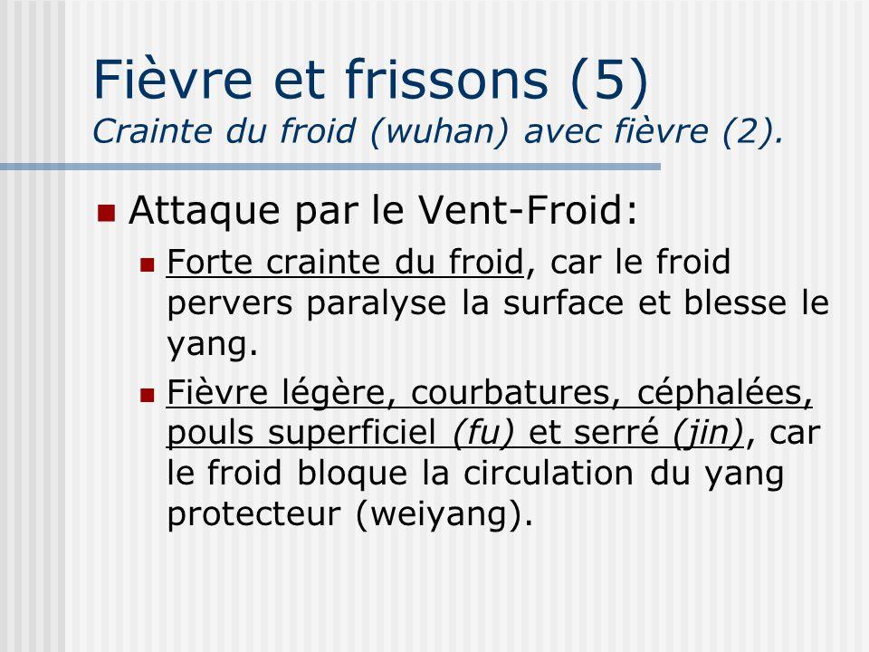 Fièvre et frissons (5) Crainte du froid (wuhan) avec fièvre (2).