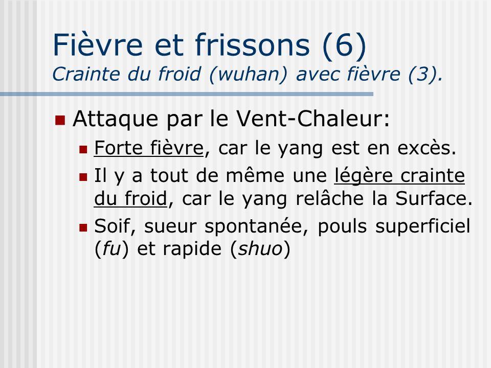 Fièvre et frissons (6) Crainte du froid (wuhan) avec fièvre (3).