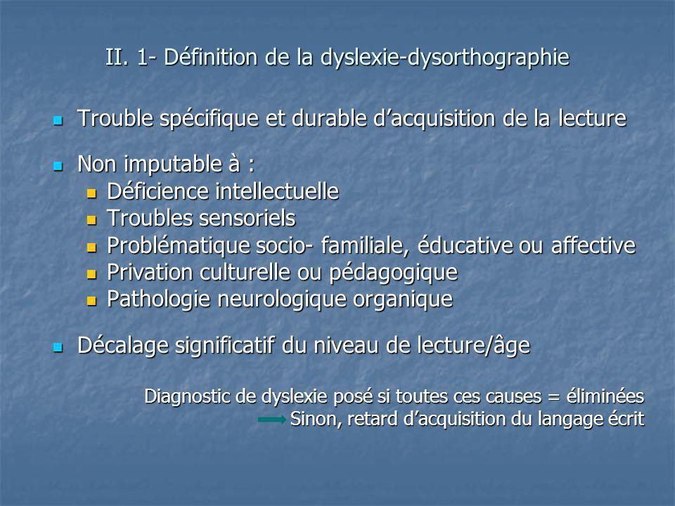 II. 1- Définition de la dyslexie-dysorthographie