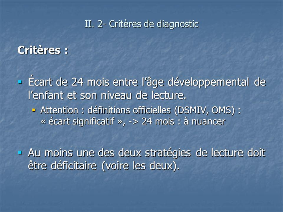 II. 2- Critères de diagnostic