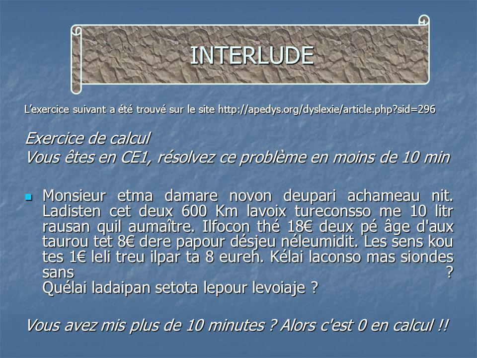 INTERLUDE Exercice de calcul