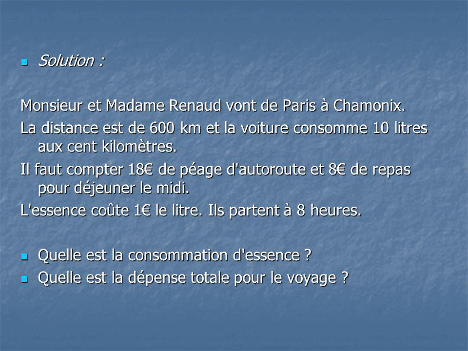 Solution : Monsieur et Madame Renaud vont de Paris à Chamonix. La distance est de 600 km et la voiture consomme 10 litres aux cent kilomètres.