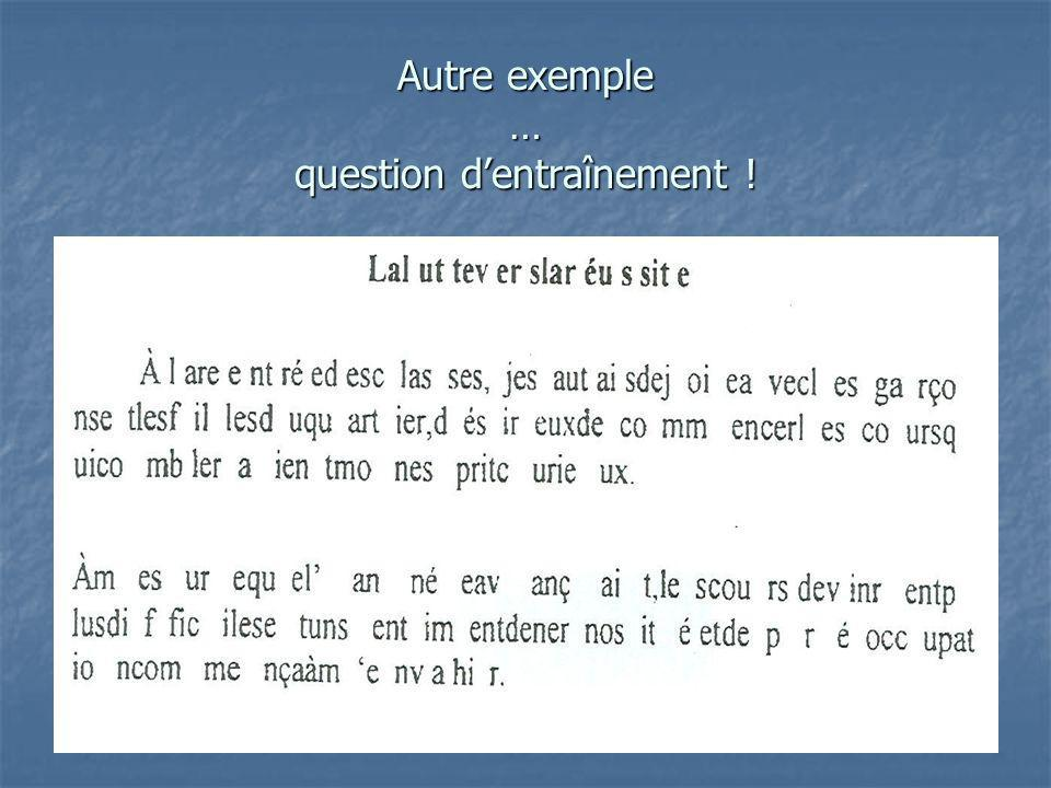 Autre exemple … question d'entraînement !