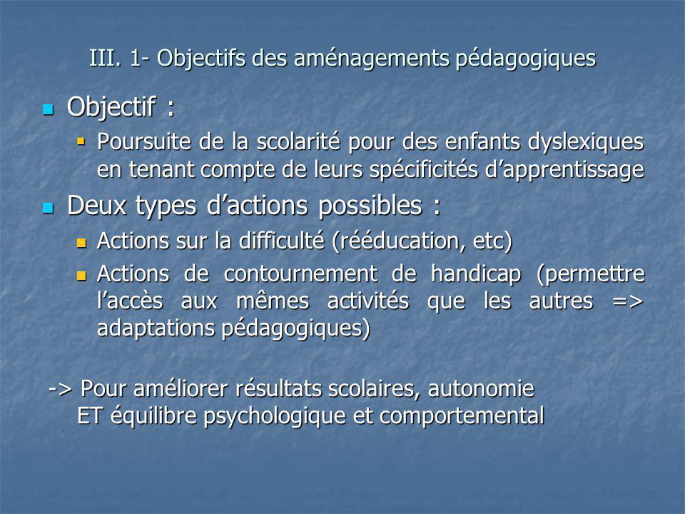 III. 1- Objectifs des aménagements pédagogiques