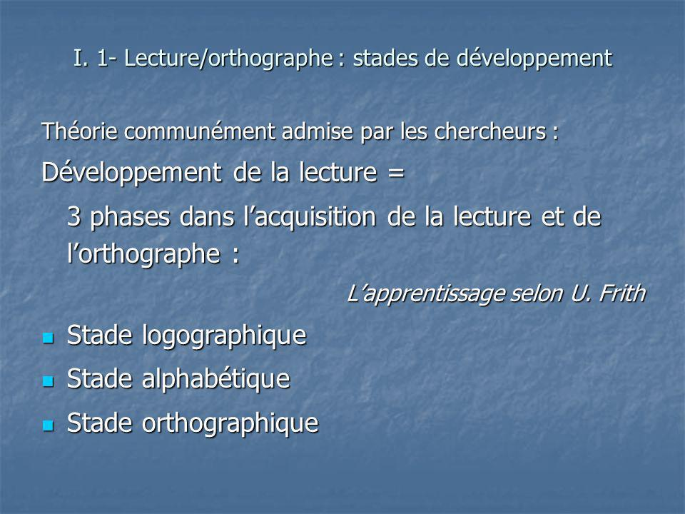 I. 1- Lecture/orthographe : stades de développement
