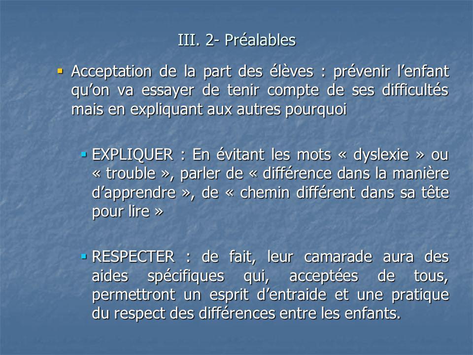 III. 2- Préalables