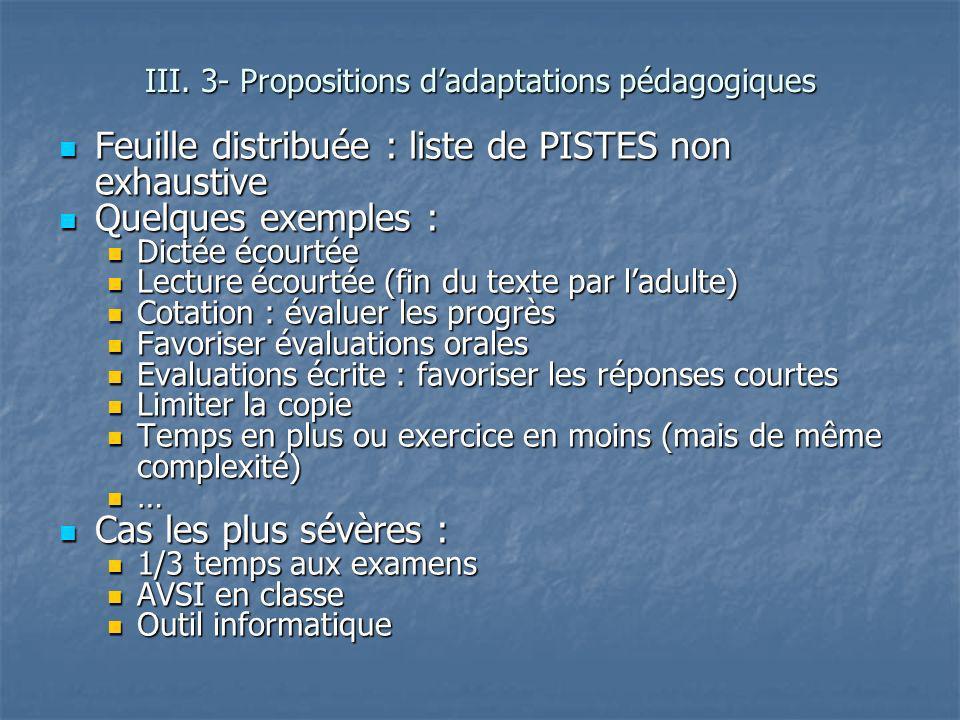 III. 3- Propositions d'adaptations pédagogiques