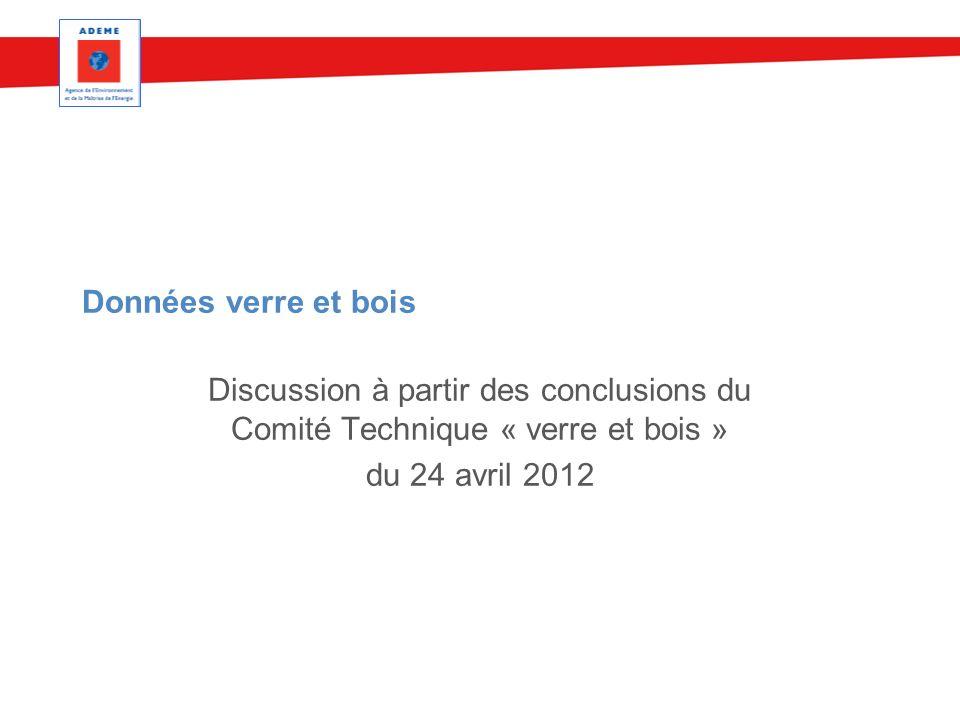 Données verre et bois Discussion à partir des conclusions du Comité Technique « verre et bois » du 24 avril 2012.