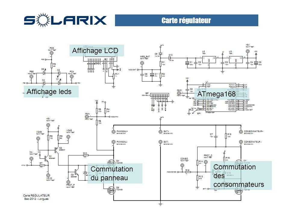 Carte régulateur Affichage LCD. Affichage leds. ATmega168.