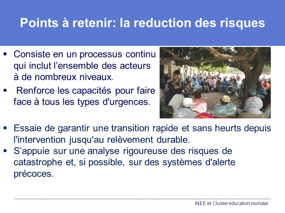 Points à retenir: la reduction des risques