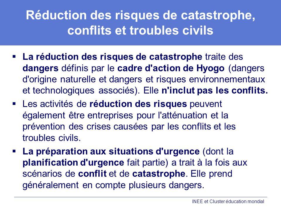 Réduction des risques de catastrophe, conflits et troubles civils