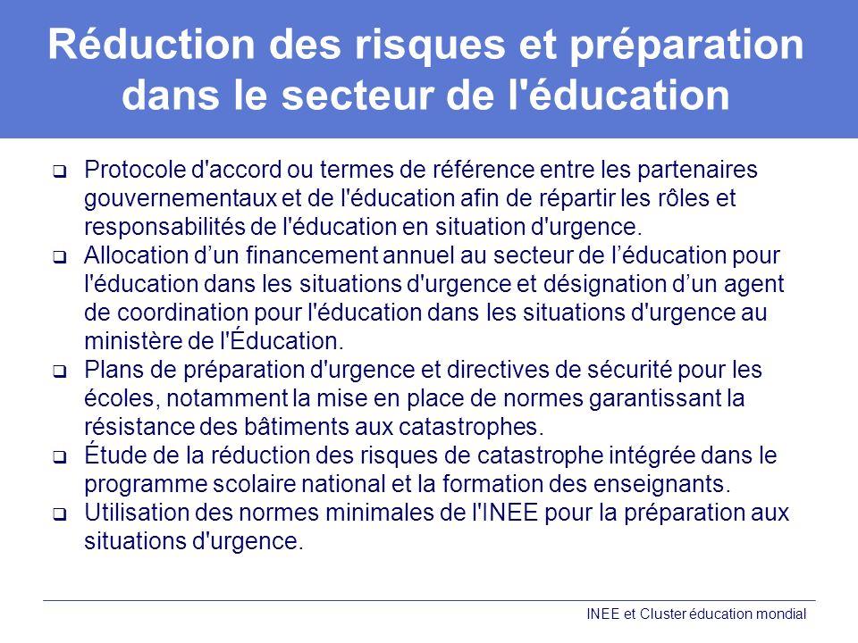 Réduction des risques et préparation dans le secteur de l éducation