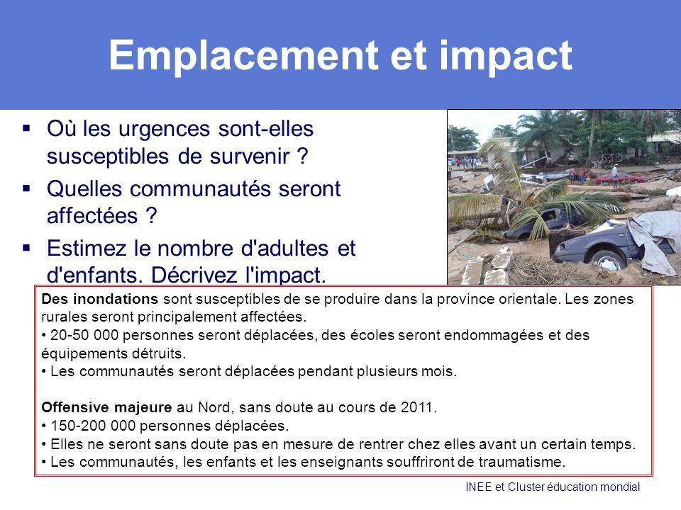Emplacement et impact Où les urgences sont-elles susceptibles de survenir Quelles communautés seront affectées
