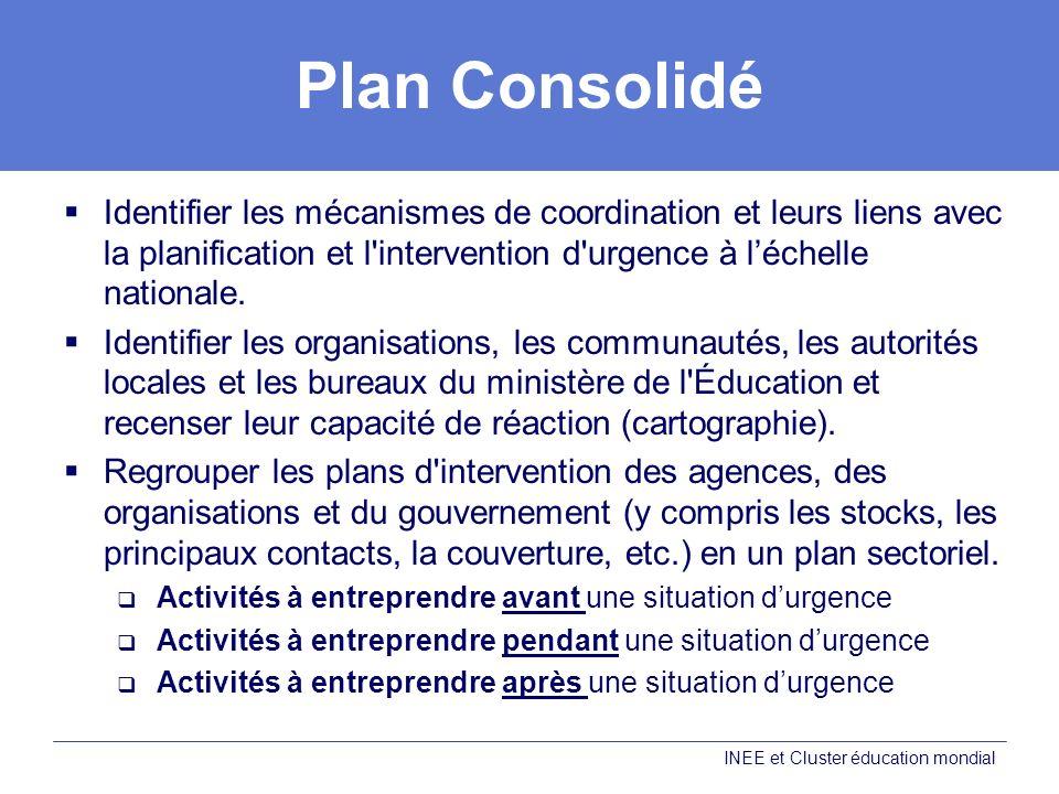 Plan Consolidé Identifier les mécanismes de coordination et leurs liens avec la planification et l intervention d urgence à l'échelle nationale.