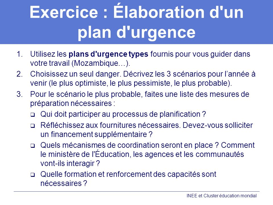 Exercice : Élaboration d un plan d urgence