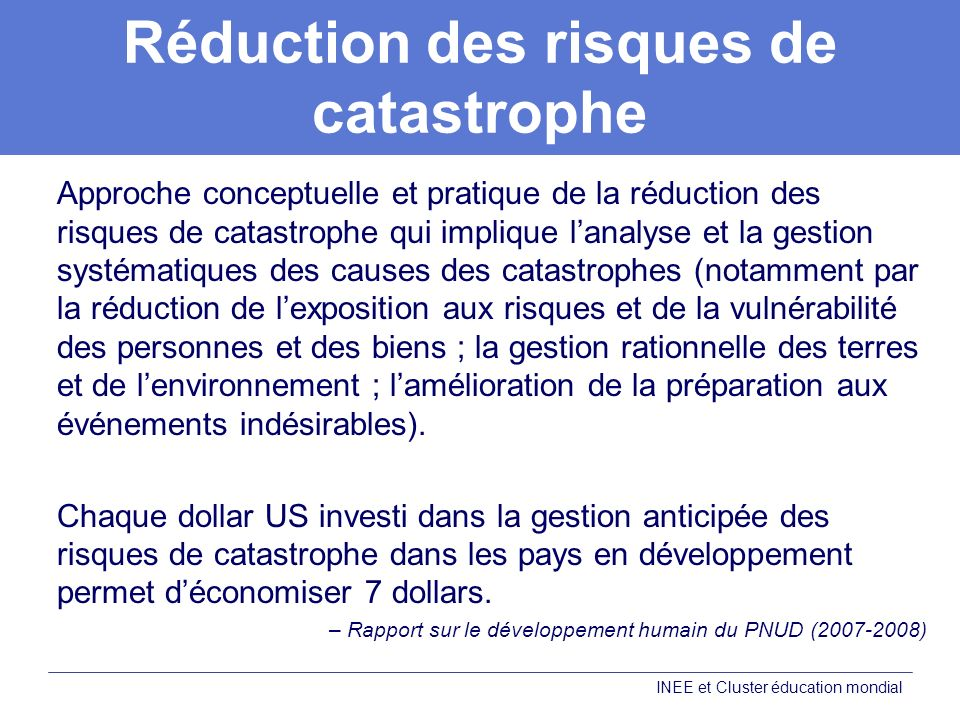 Réduction des risques de catastrophe