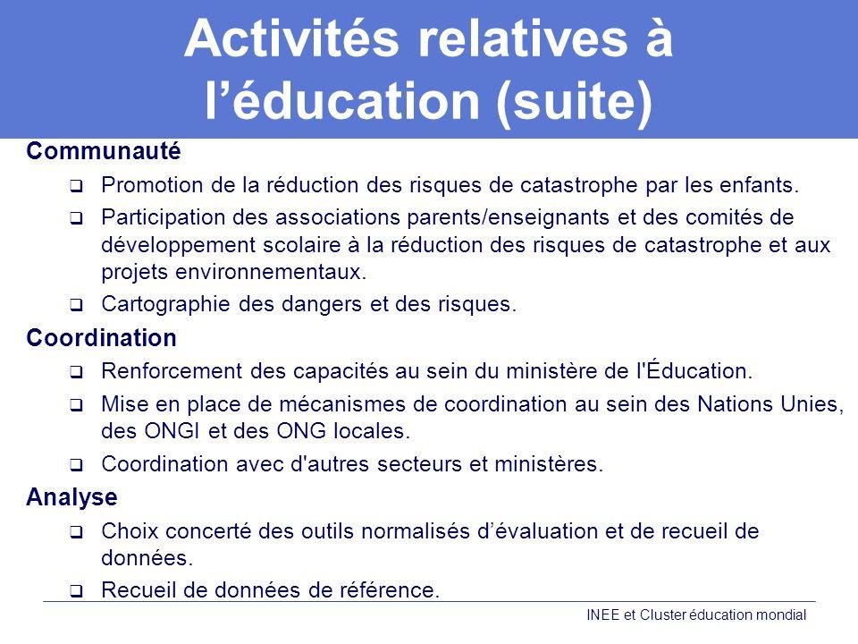 Activités relatives à l'éducation (suite)