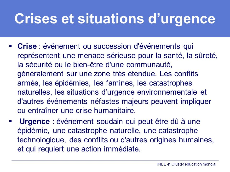 Crises et situations d'urgence