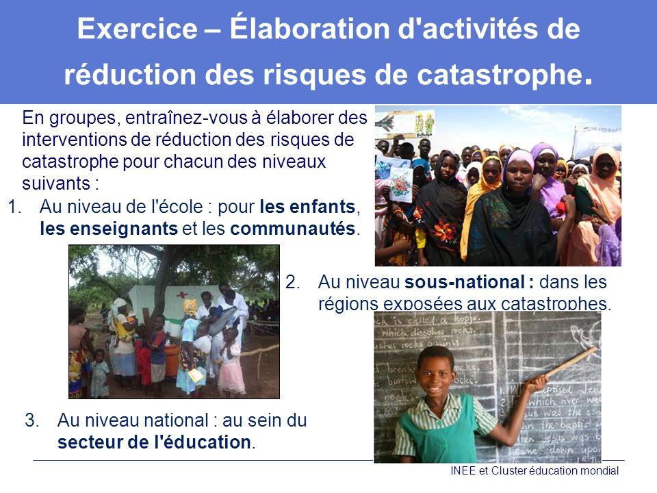 Exercice – Élaboration d activités de réduction des risques de catastrophe.