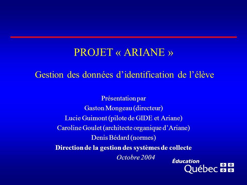 PROJET « ARIANE » Gestion des données d'identification de l'élève