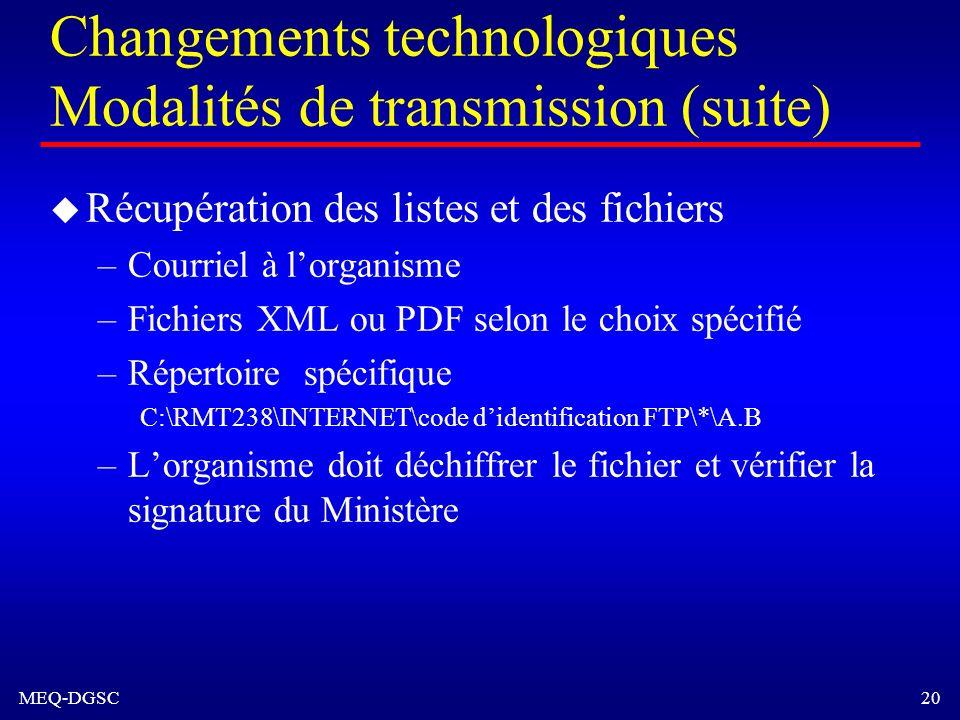 Changements technologiques Modalités de transmission (suite)