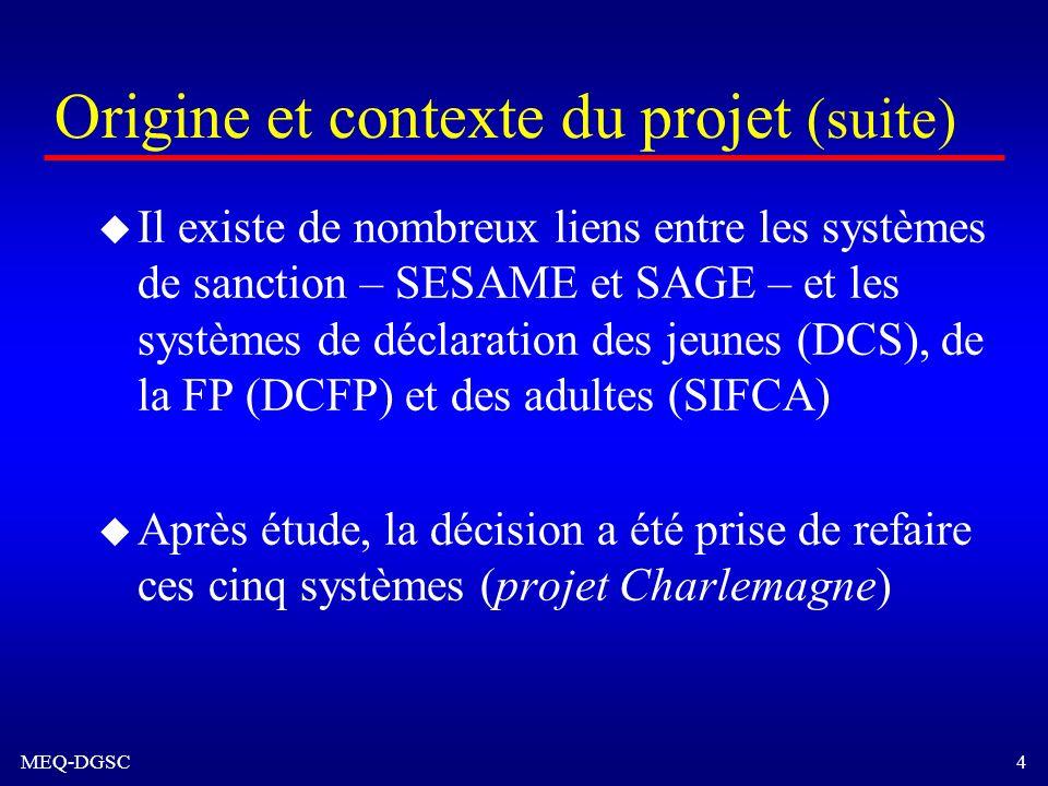 Origine et contexte du projet (suite)