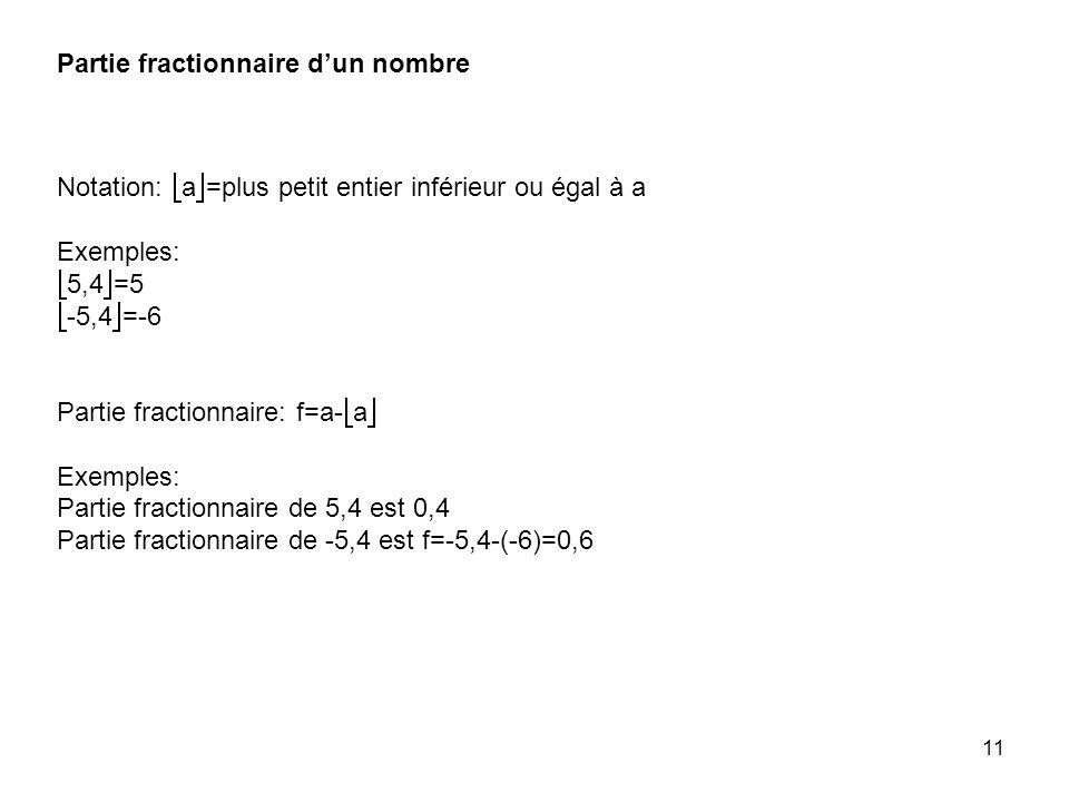 Partie fractionnaire d'un nombre