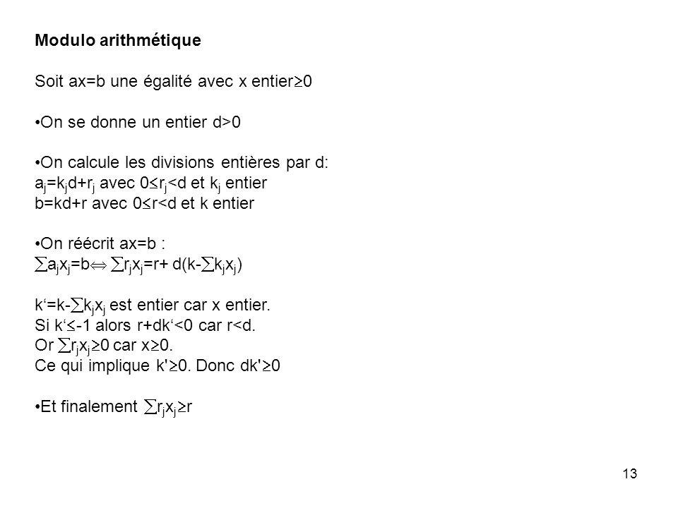 Modulo arithmétique Soit ax=b une égalité avec x entier0. On se donne un entier d>0. On calcule les divisions entières par d: