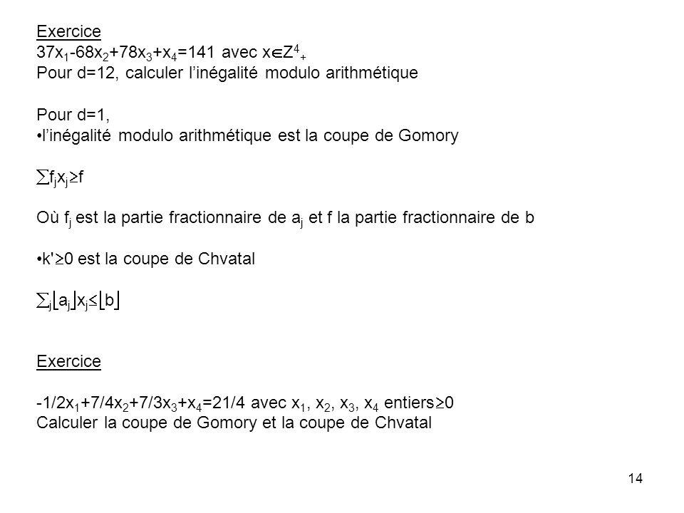Exercice 37x1-68x2+78x3+x4=141 avec xZ4+ Pour d=12, calculer l'inégalité modulo arithmétique. Pour d=1,