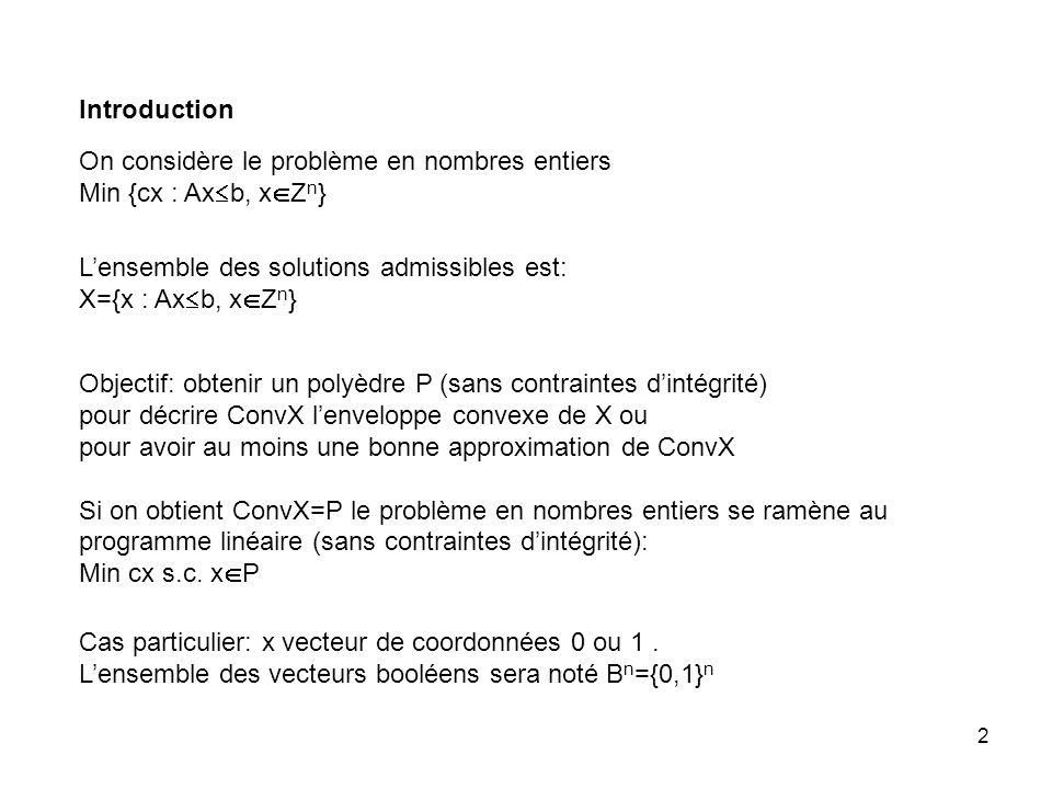Introduction On considère le problème en nombres entiers. Min {cx : Axb, xZn} L'ensemble des solutions admissibles est: