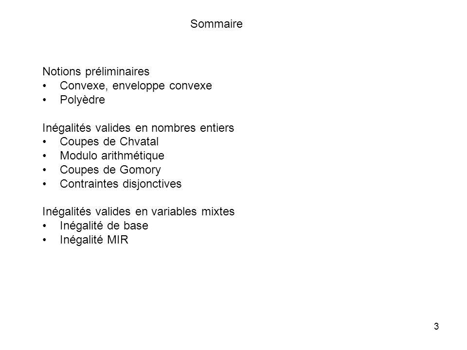 Sommaire Notions préliminaires. Convexe, enveloppe convexe. Polyèdre. Inégalités valides en nombres entiers.