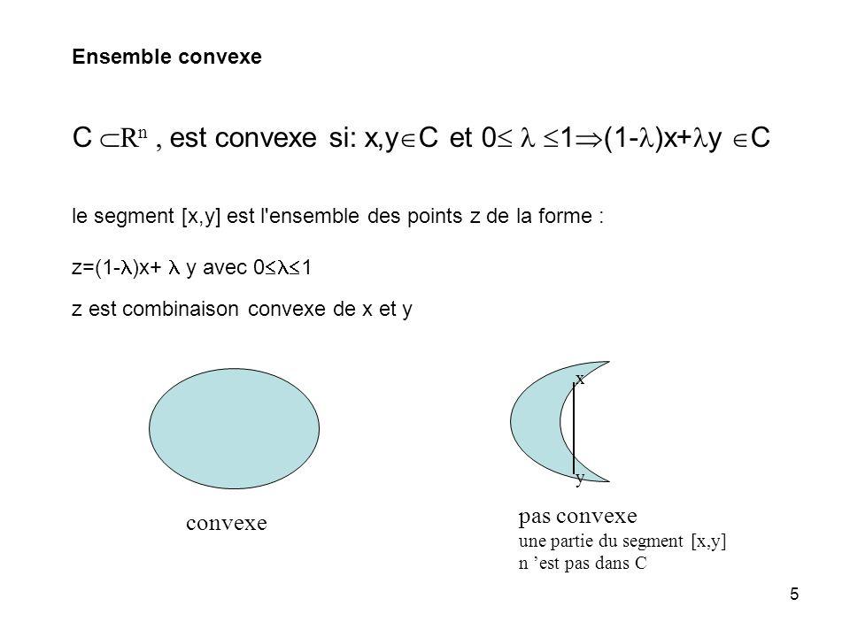 C Rn , est convexe si: x,yC et 0  1(1-)x+y C