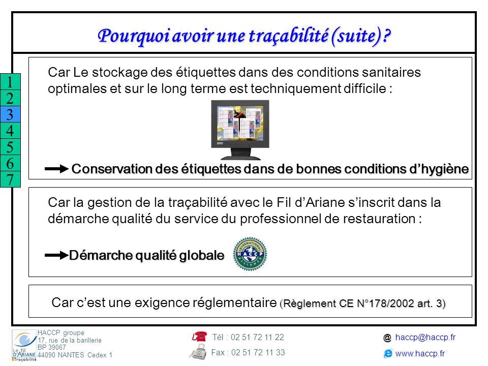 Car c'est une exigence réglementaire (Règlement CE N°178/2002 art. 3)