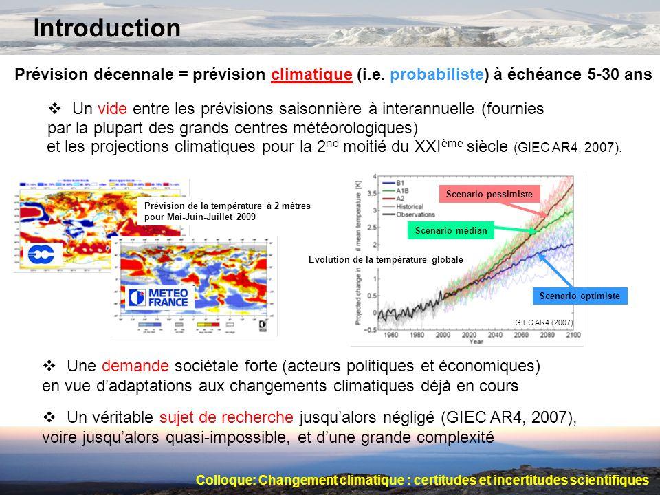 Introduction Prévision décennale = prévision climatique (i.e. probabiliste) à échéance 5-30 ans.