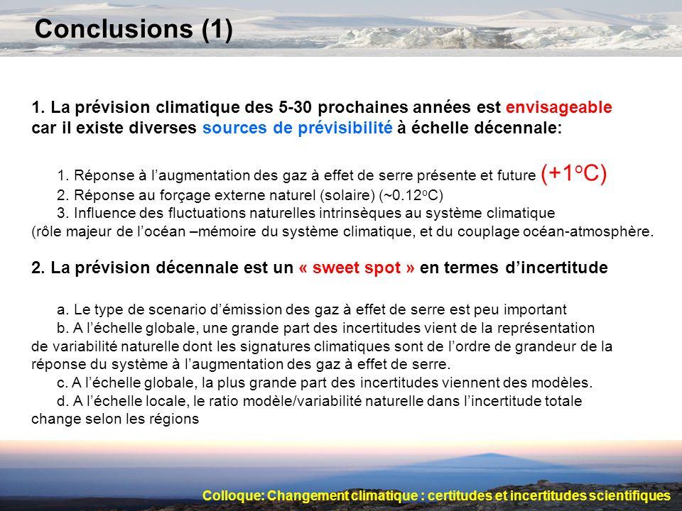 Conclusions (1) 1. La prévision climatique des 5-30 prochaines années est envisageable.