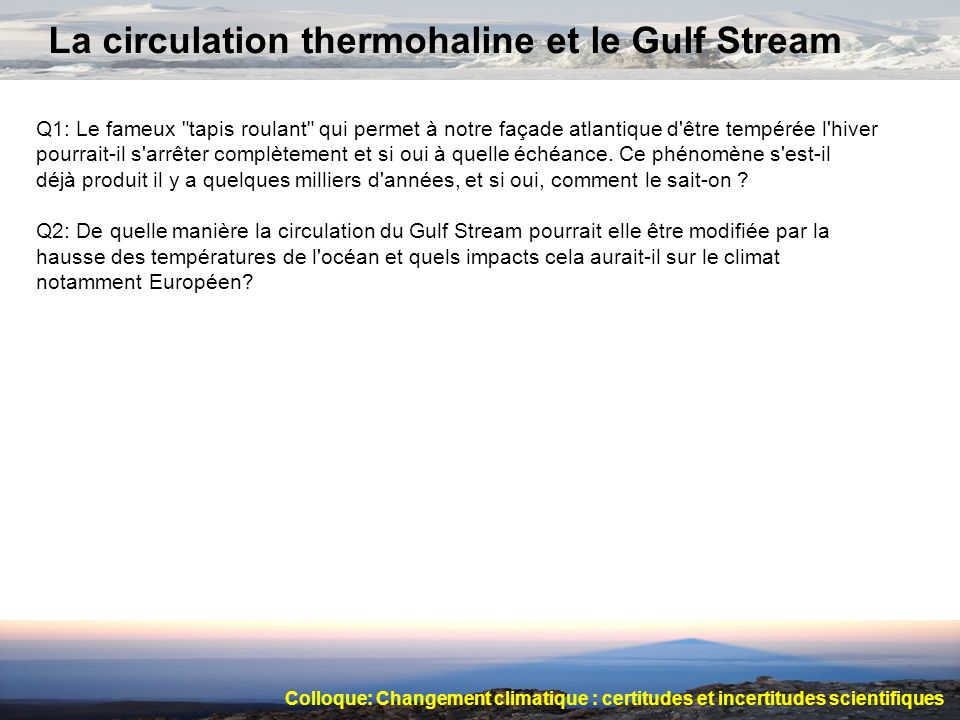 La circulation thermohaline et le Gulf Stream