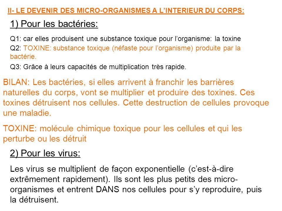 1) Pour les bactéries: 2) Pour les virus: