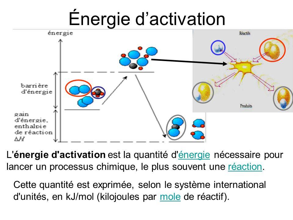 Énergie d'activation L énergie d activation est la quantité d énergie nécessaire pour lancer un processus chimique, le plus souvent une réaction.