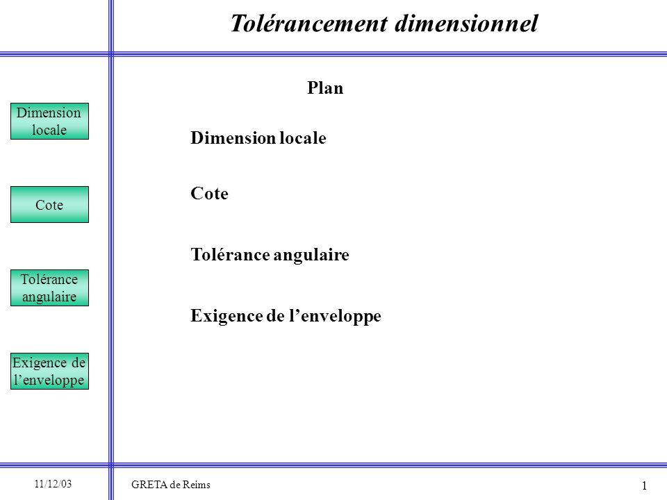 Tolérancement dimensionnel