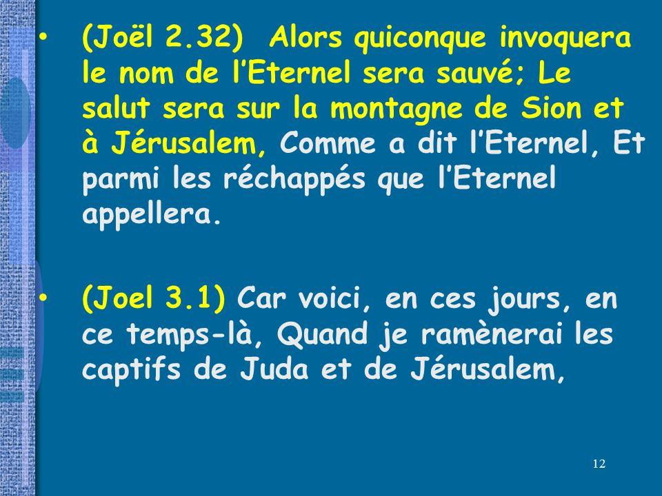 (Joël 2.32) Alors quiconque invoquera le nom de l'Eternel sera sauvé; Le salut sera sur la montagne de Sion et à Jérusalem, Comme a dit l'Eternel, Et parmi les réchappés que l'Eternel appellera.