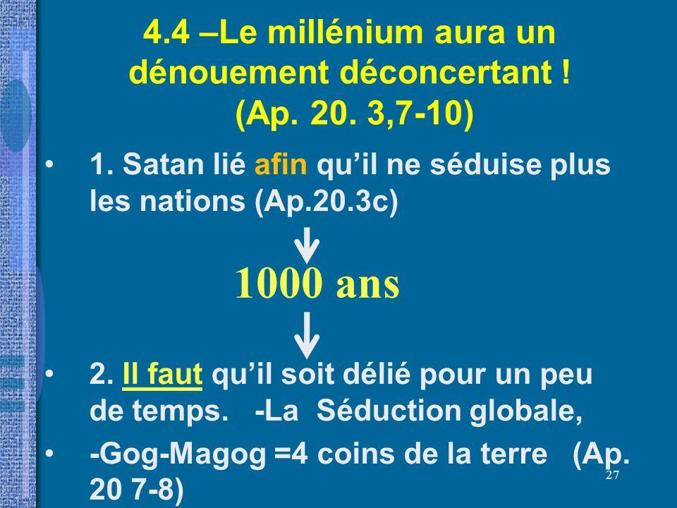 4.4 –Le millénium aura un dénouement déconcertant ! (Ap. 20. 3,7-10)