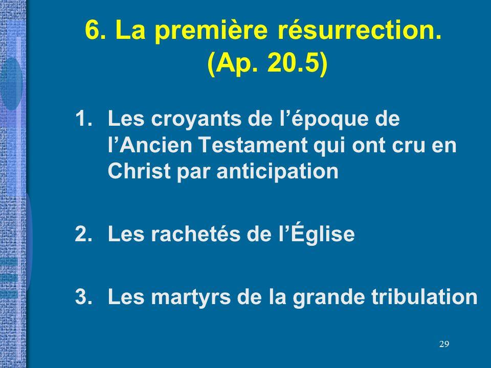 6. La première résurrection. (Ap. 20.5)