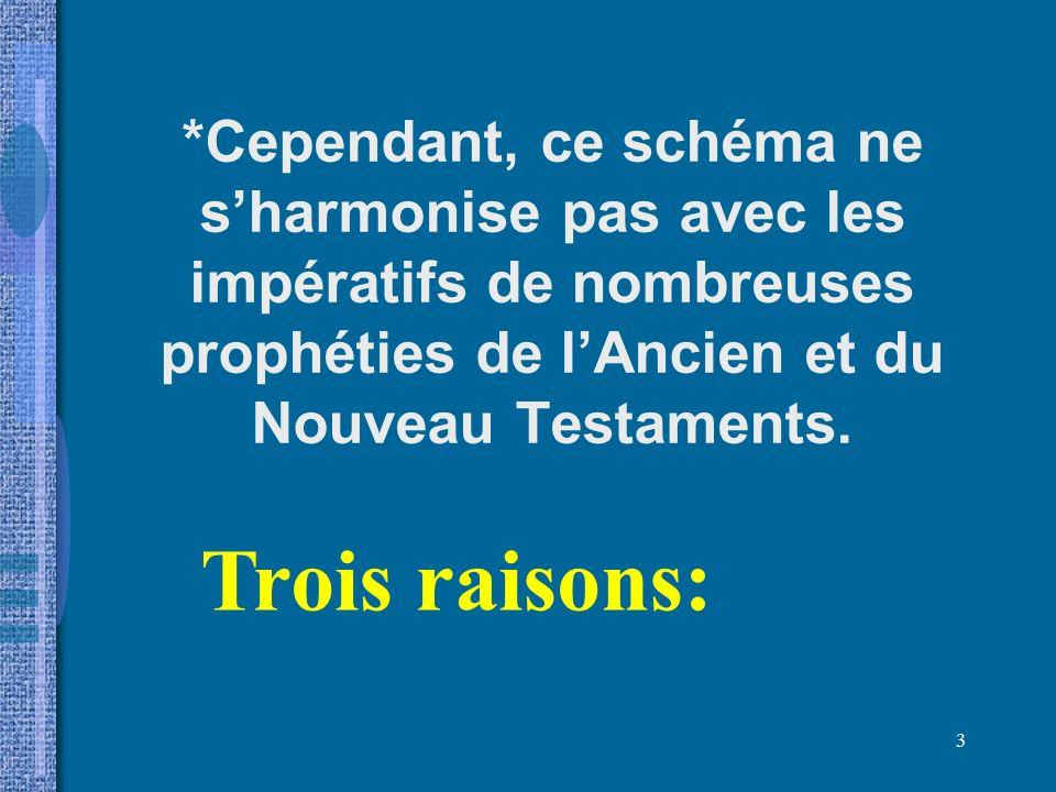 *Cependant, ce schéma ne s'harmonise pas avec les impératifs de nombreuses prophéties de l'Ancien et du Nouveau Testaments.