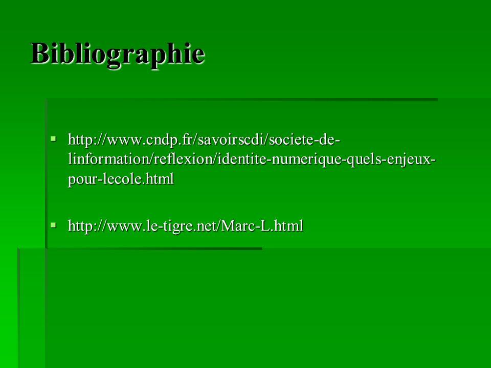 Bibliographie http://www.cndp.fr/savoirscdi/societe-de-linformation/reflexion/identite-numerique-quels-enjeux-pour-lecole.html.