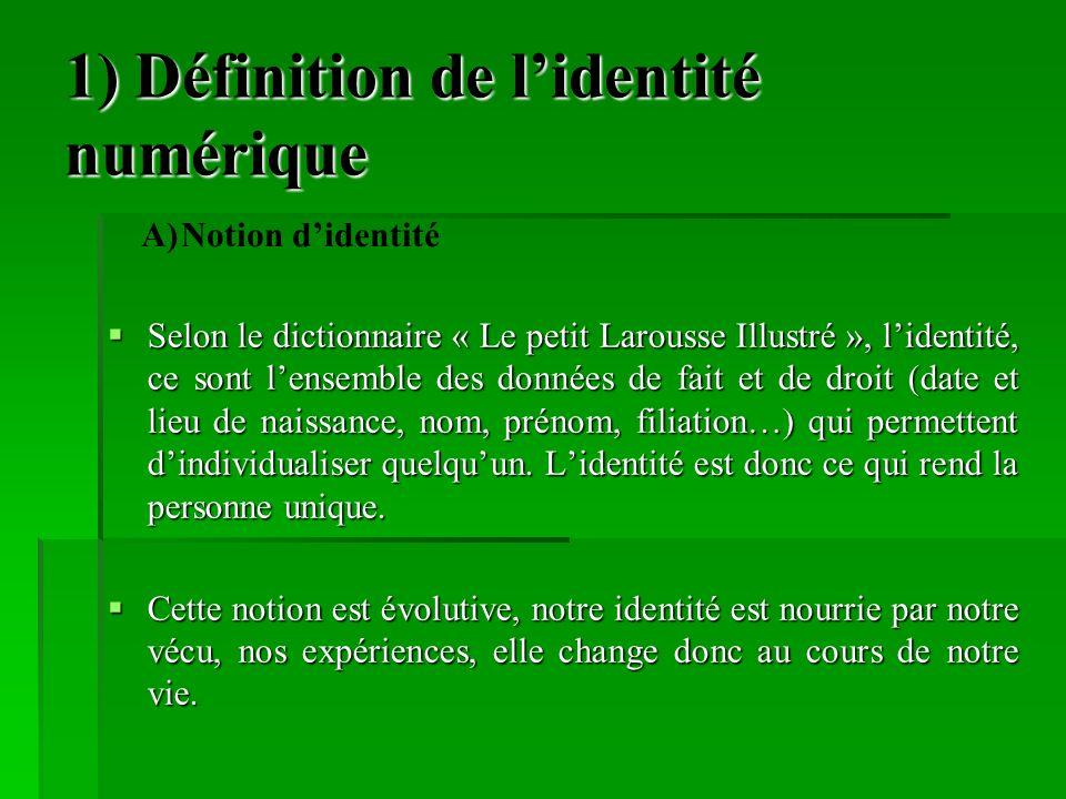 1) Définition de l'identité numérique