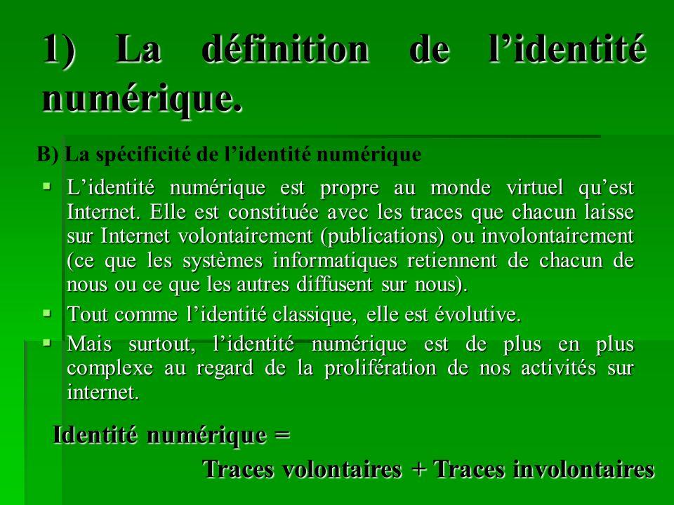 1) La définition de l'identité numérique.